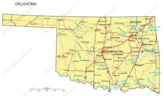 Oklahoma State Map With Cities by Oklahoma Map And Oklahoma Satellite Images