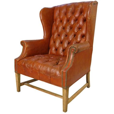 leather wing back chairs vintage tufted leather wing chair at 1stdibs