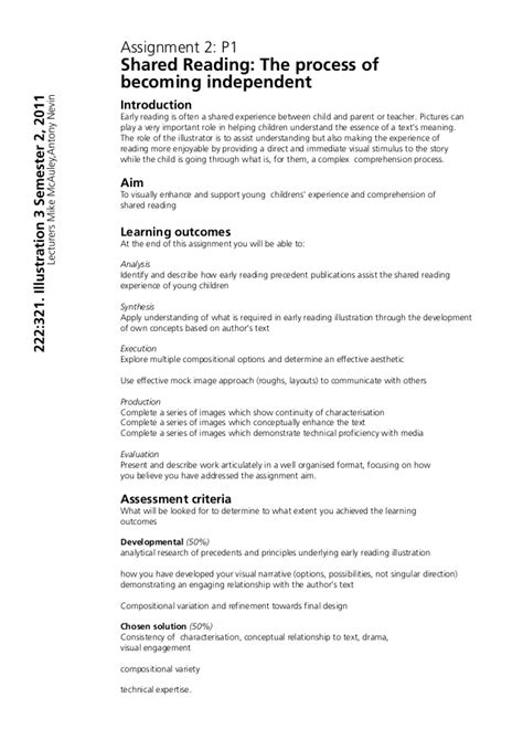 layout of essay assignment brief exles