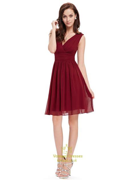 dresses for burgundy chiffon v neck sleeveless knee length bridesmaid