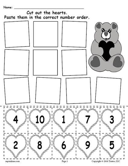 heart pattern worksheet free printable valentine s day hearts number ordering