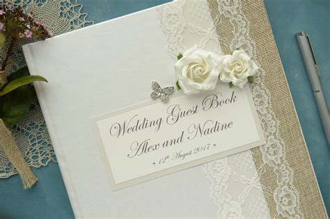 Wedding Guest Book Butterfly Design by Large Luxury Personalised Wedding Guest Book Vintage