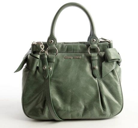 Miu Miu Washed Leather Tote by Miu Miu Agave Washed Leather Top Handle Tote In Green Lyst