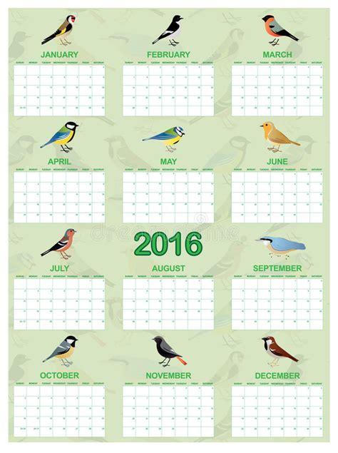 english calendar 2016 design stock vector image 61777684 2016 calendar on english stock vector image of birds