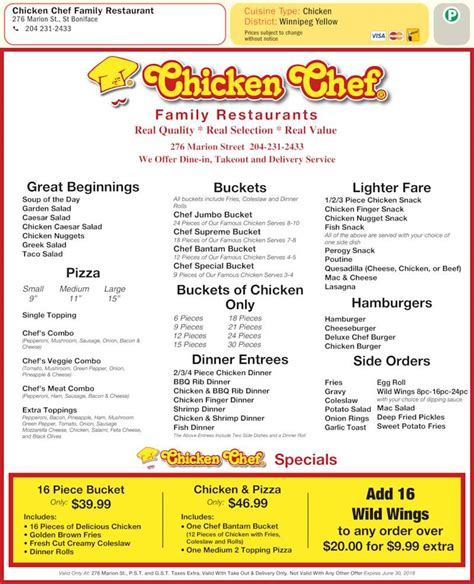 printable restaurant coupons winnipeg chicken chef canada menu hours prices 276 marion st