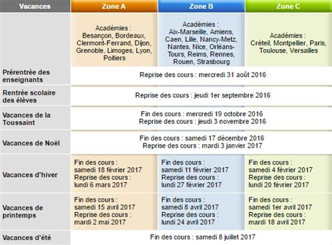 Education Nationale Calendrier Vacances Le Calendrier De L 233 E Scolaire 2016 2017 Du