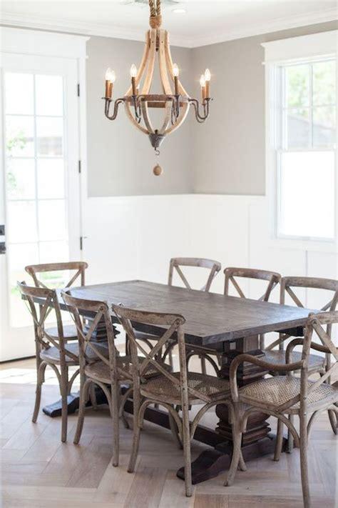wine barrel chandelier transitional dining room