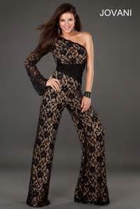 Jovani 74278 one long sleeve sheer lace jumpsuit french novelty