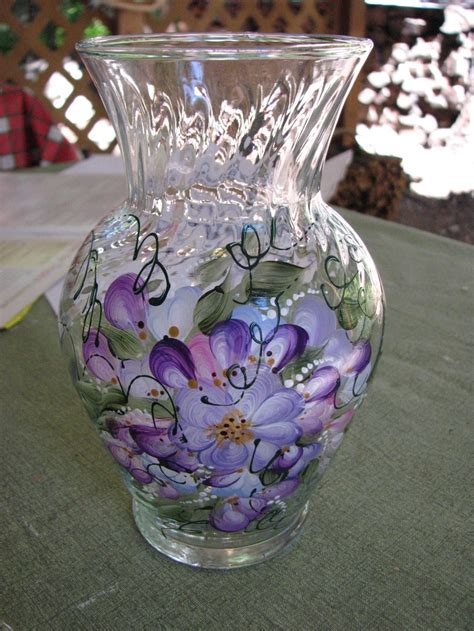 Painted Glass Vases Hand Painted Glass Vase By Pat Craft Ideas Pinterest