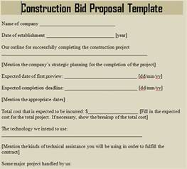construction bid template free construction templates free