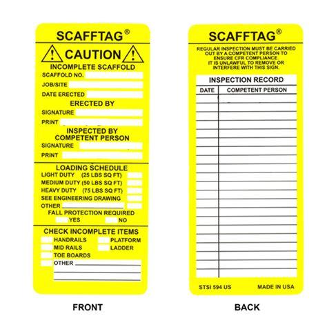 printable scaffold tags brady part scaf stsi594 104114 scafftag inserts