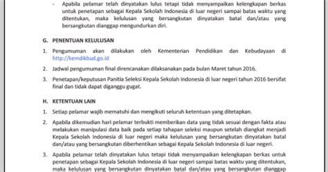 surat pengumuman seleksi kepala sekolah contoh surat
