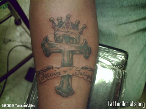 cross tattoo with crown cross w crown artists org