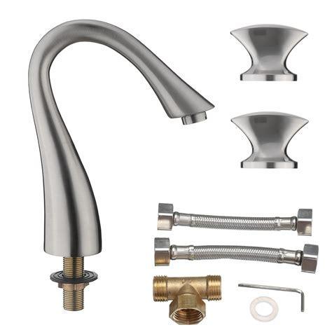 Luxury Bathroom Widespread Sink Faucet 3 Hole Mixer Tap