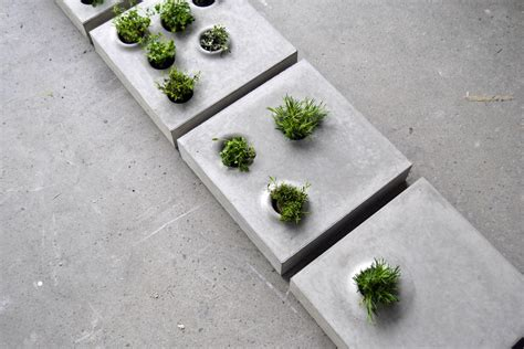 Concrete Paver Planters by From Gray To Green Pavers With Plants From Stockholm
