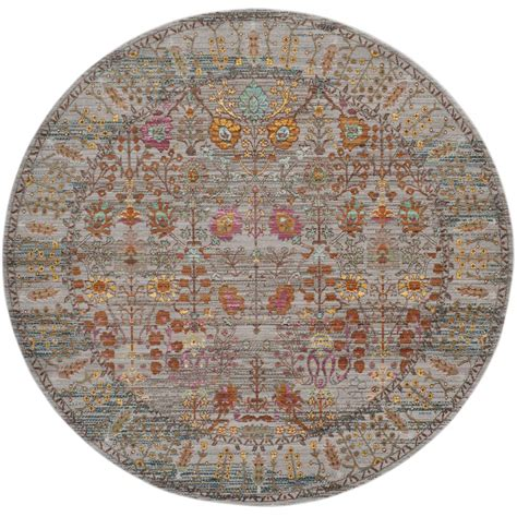 6ft circular rugs safavieh valencia gray multi 6 ft 7 in x 6 ft 7 in area rug val108c 7r the home depot