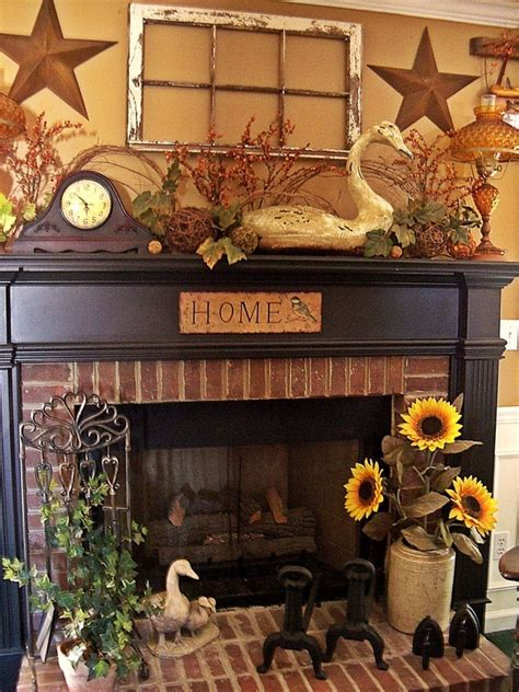 primitive fireplace decor mantel decor