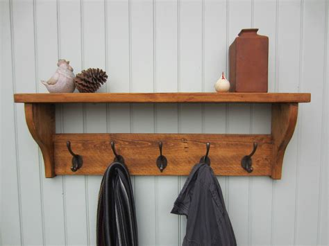 Coat Hook Rack With Shelf by Rustic Pine Hat Coat Rack Shelf 2 3 4 5 6 7 Hooks Also