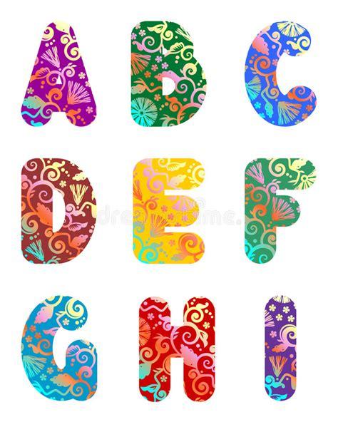 beautiful letters alphabet set part 1 stock vector