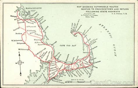 scan cape cod map showing automobile routes boston to provincetown and