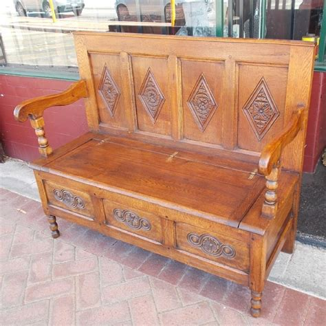 hall bench oak victorian oak carved hall way bench settles hall seats
