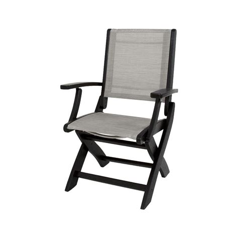 folding patio chairs home depot polywood black metallic sling coastal patio folding chair