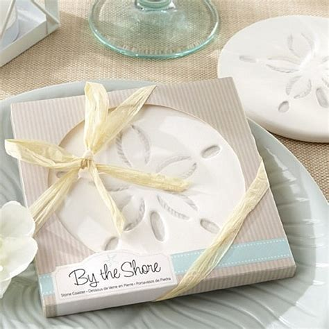 By The Shore 4 Inch White Stone Sand Dollar Coaster Favors