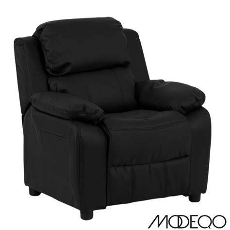 Child Leather Recliner by Deluxe Heavily Padded Black Leather Recliner With