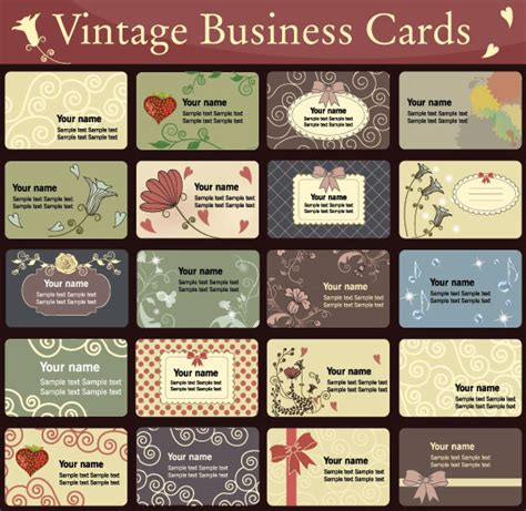 vintage multi photo card template simple and pattern business card template vector