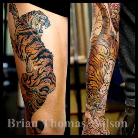 scapegoat tattoo arm tiger thigh by scapegoat