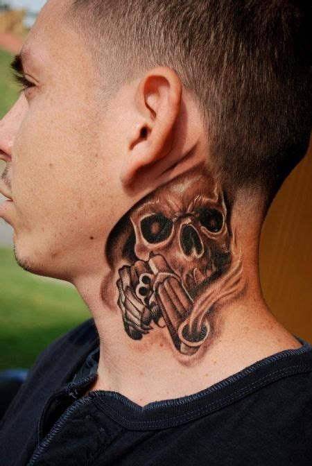 side neck tattoos skull with gun on side neck tatoos