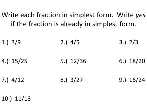 simplifying fractions ppt