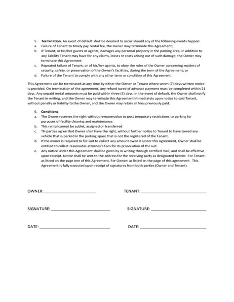 Monthly Reserved Parking Space Rental Agreement Free Download Car Parking Agreement Template