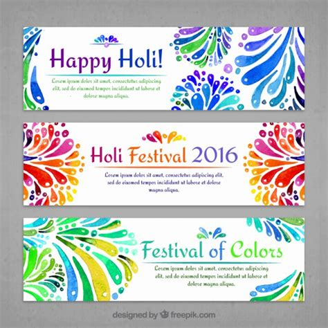 Wedding Banner Cdr by Watercolor Decorative Holi Banners Vector Free