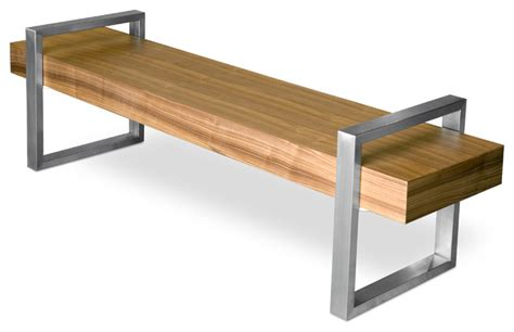 gus modern return bench walnut modern indoor benches