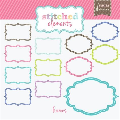 stitched frames digital clipart 12 pieces for personal