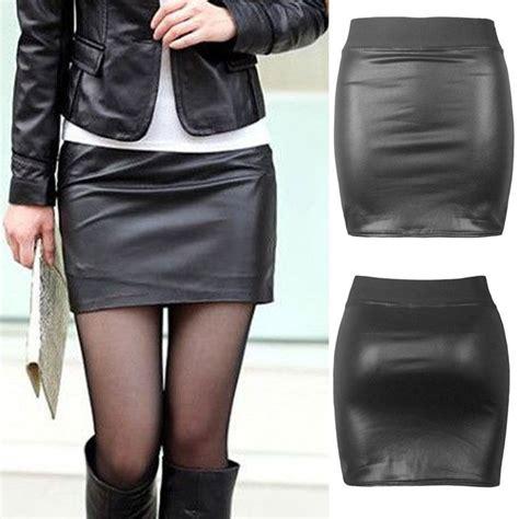 Import Leather Asimetris Black Pencil Skirt Rok Mini Hitam Kulit black pu leather pencil bodycon high waist mini dress skirt ebay
