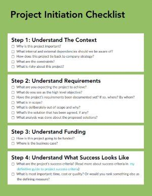Project Initiation Checklist Free Download Myagileplm Agile Project Initiation Document Template