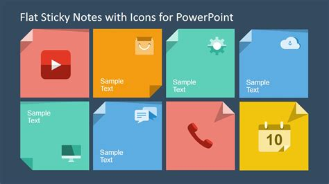 powerpoint layout notes flat sticky notes with icons for powerpoint slidemodel