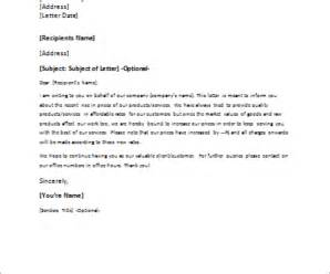 Business Letter Template Price Increase formal official and professional letter templates