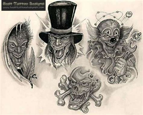 gangster clown tattoos pics photos gangster clown black white design