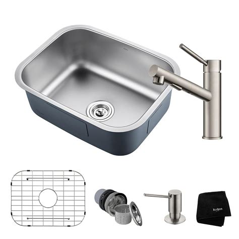 Kraus Stainless Steel Kitchen Sinks Kraus Outlast All In One Undermount Stainless Steel 23 In Single Bowl Kitchen Sink With Faucet