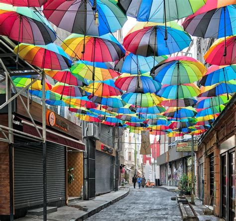 X2 3746 St Umbrella hoca tahsin at karakoy district istanbul turkey decorated with colorful umbrellas