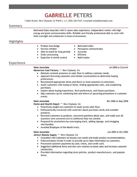 Sles Of Resume Format Objective For Resume Sales Associate Writing Resume