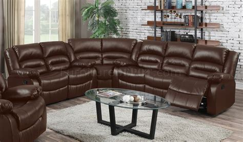 brown reclining sectional sofa 9172 reclining sectional sofa in brown bonded leather w