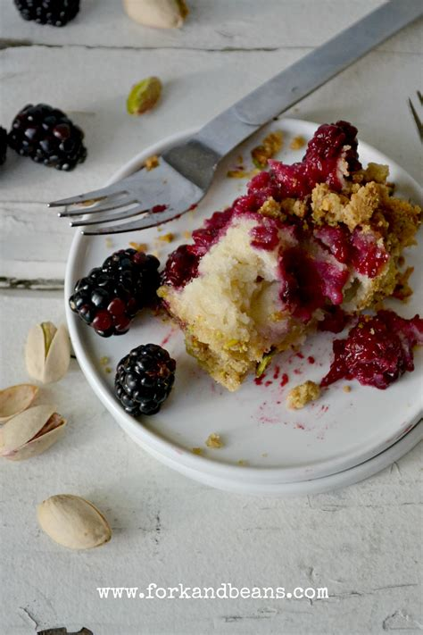 lemon blackberry cake fork and beans