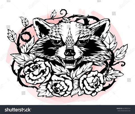 cartoon raccoon tattoo angry raccoon roses thorns black white stock vector