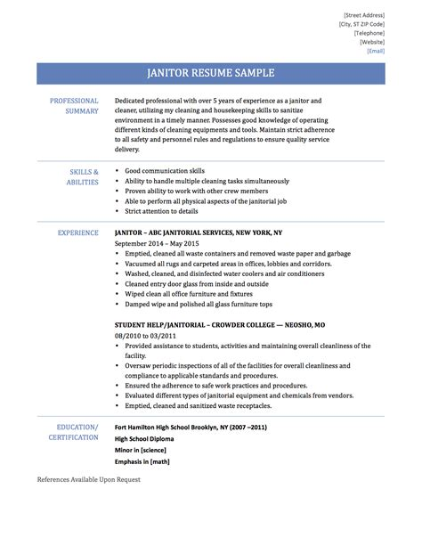 A Resume Sle by Custodian Sle Resume 28 Images Custodian Resume Sle 28