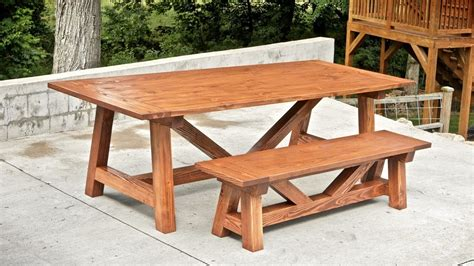 build  farmhouse table  benches