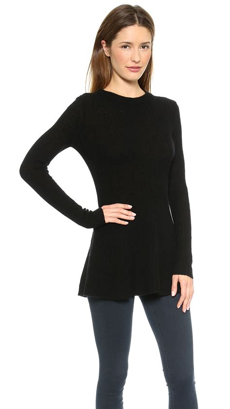 Dress Of The Day Costa Tunic by Enza Costa Merino Rib Tunic Sweater Black In Black Lyst